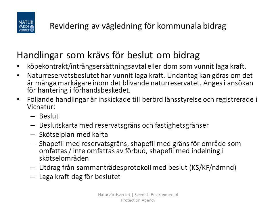 Revidering av vägledning för kommunala bidrag