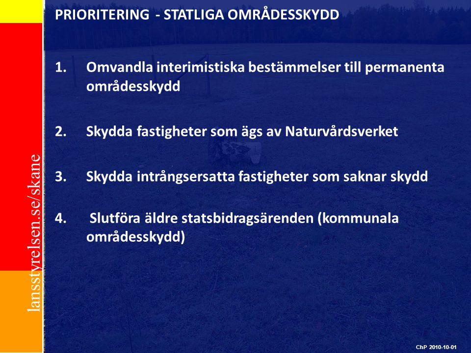 PRIORITERING - STATLIGA OMRÅDESSKYDD