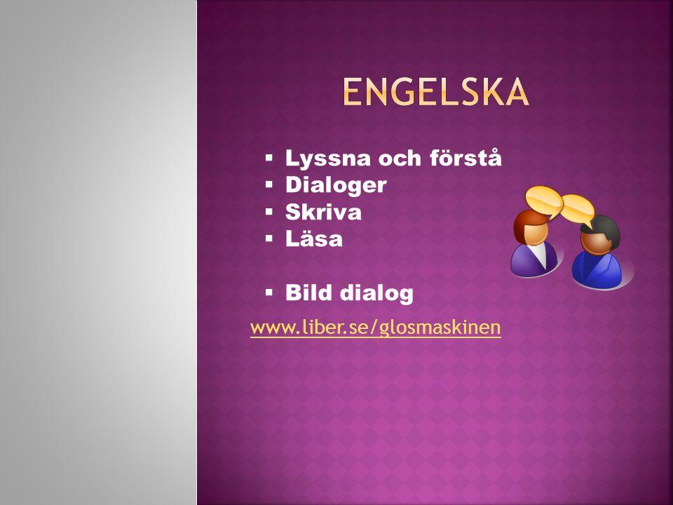 Engelska Lyssna och förstå Dialoger Skriva Läsa Bild dialog