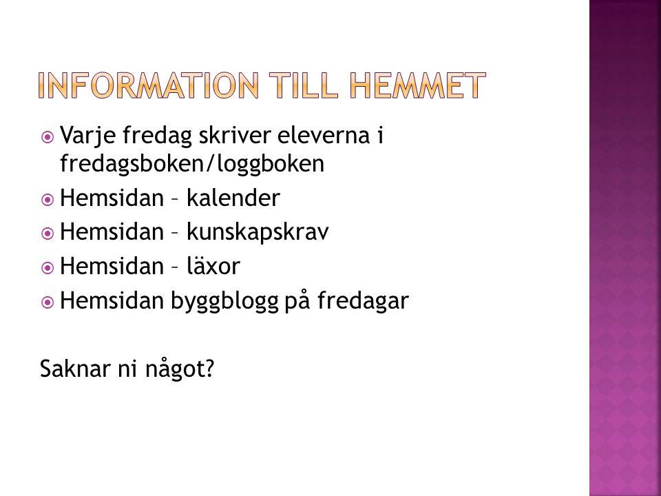 Information till hemmet