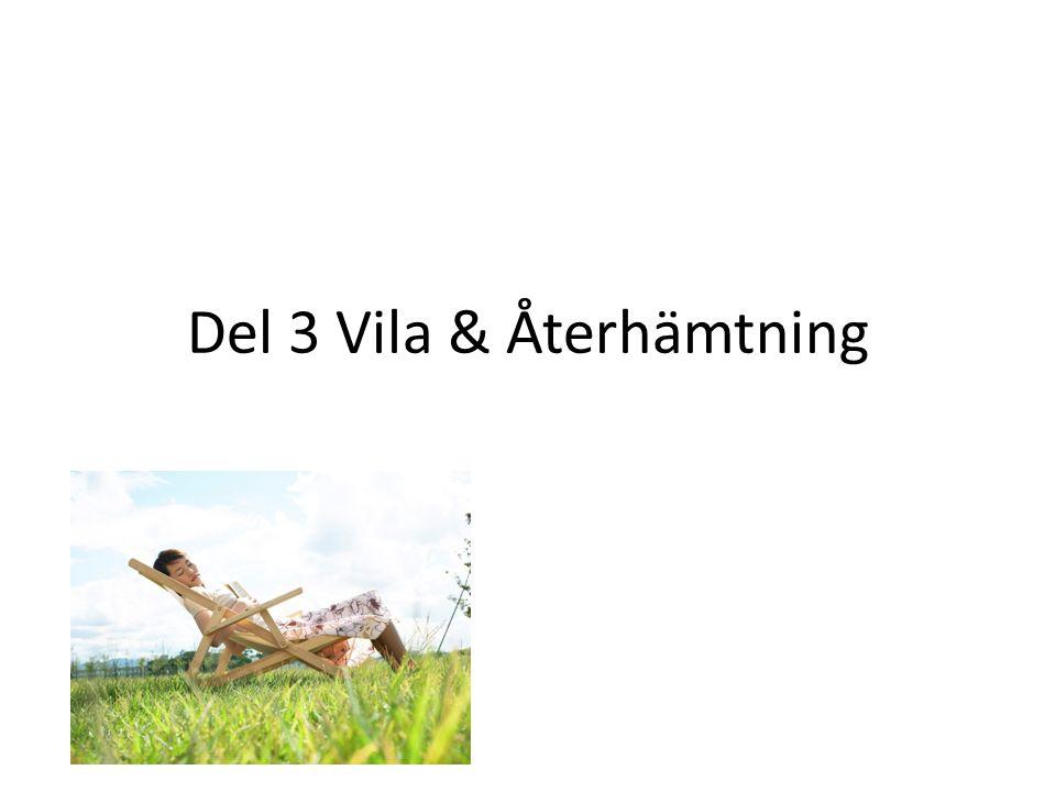 Del 3 Vila & Återhämtning