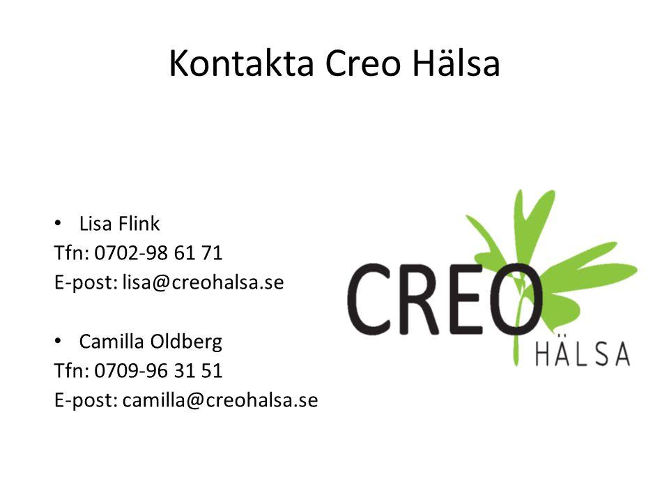 Kontakta Creo Hälsa Lisa Flink Tfn: 0702-98 61 71