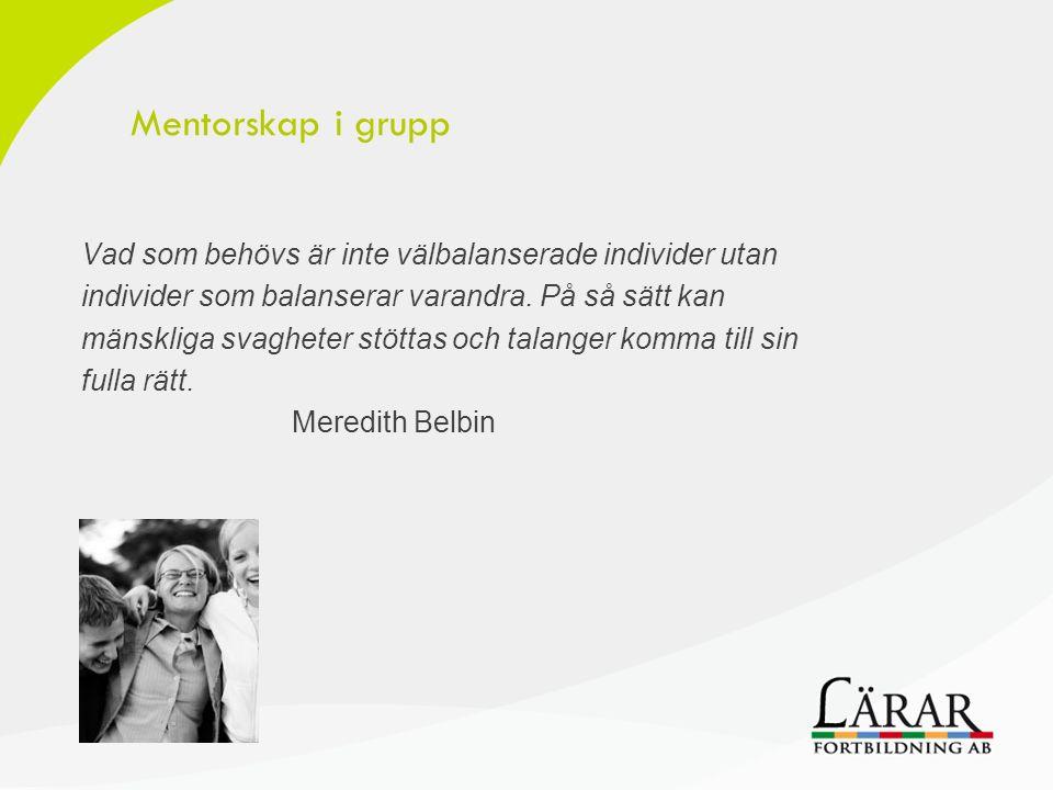 Mentorskap i grupp Vad som behövs är inte välbalanserade individer utan. individer som balanserar varandra. På så sätt kan.