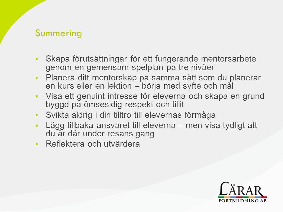 Summering Skapa förutsättningar för ett fungerande mentorsarbete genom en gemensam spelplan på tre nivåer.