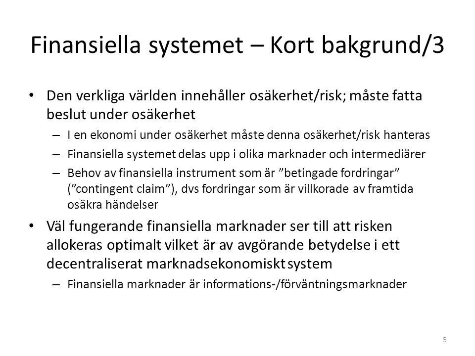 Finansiella systemet – Kort bakgrund/3