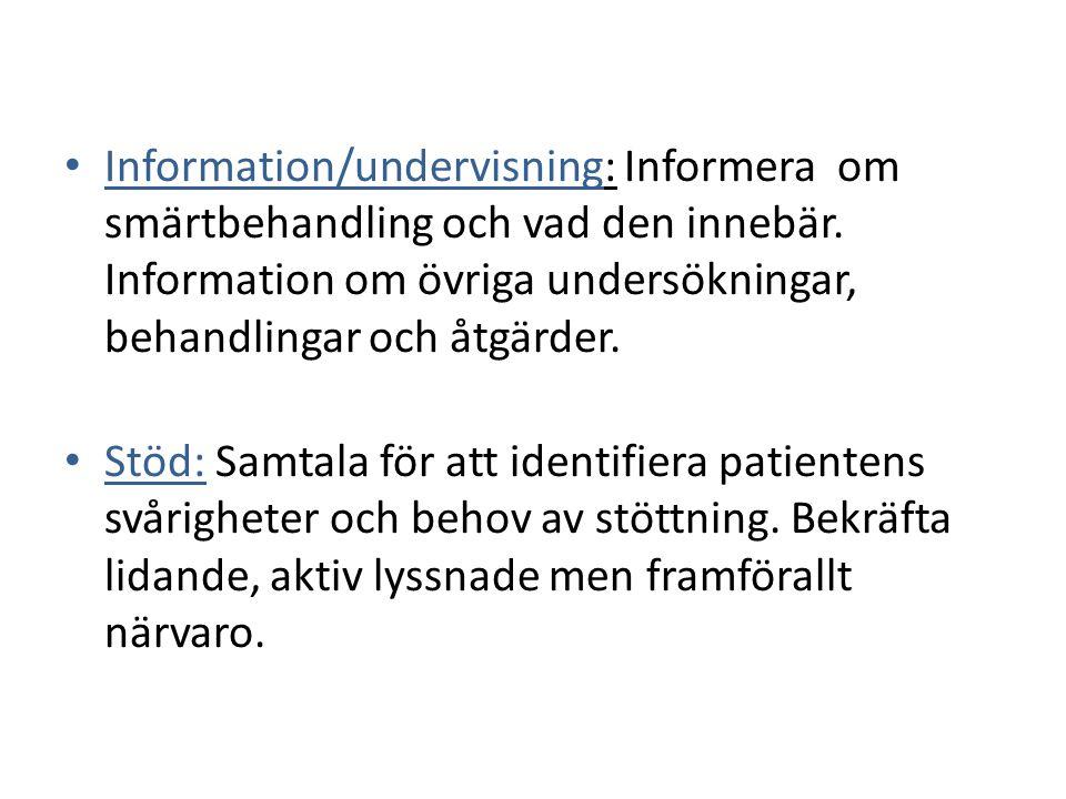 Information/undervisning: Informera om smärtbehandling och vad den innebär. Information om övriga undersökningar, behandlingar och åtgärder.