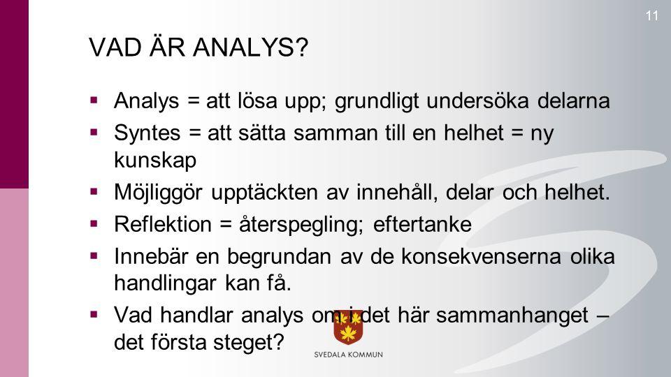 VAD ÄR ANALYS Analys = att lösa upp; grundligt undersöka delarna