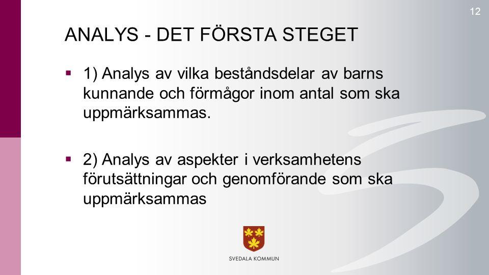 ANALYS - DET FÖRSTA STEGET