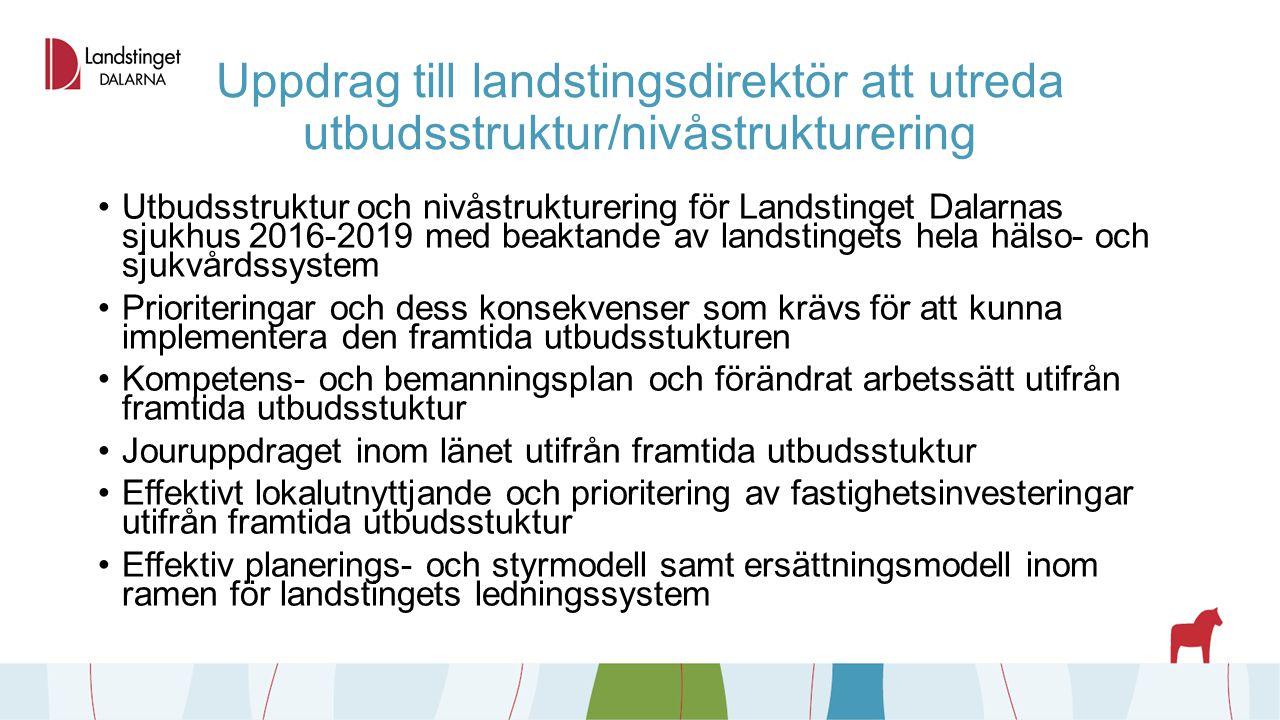 Uppdrag till landstingsdirektör att utreda utbudsstruktur/nivåstrukturering