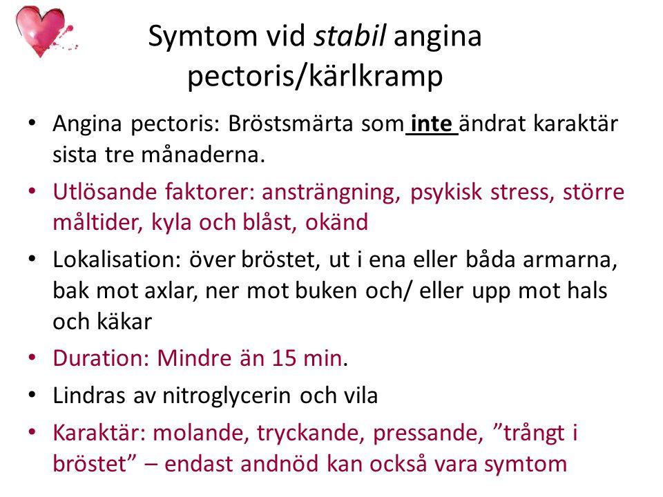Symtom vid stabil angina pectoris/kärlkramp