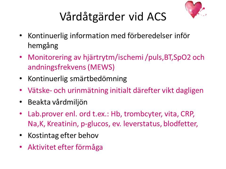 Vårdåtgärder vid ACS Kontinuerlig information med förberedelser inför hemgång.