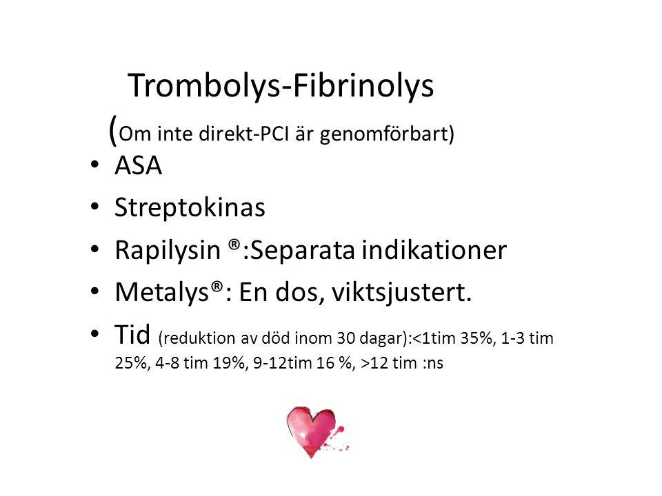 Trombolys-Fibrinolys (Om inte direkt-PCI är genomförbart)