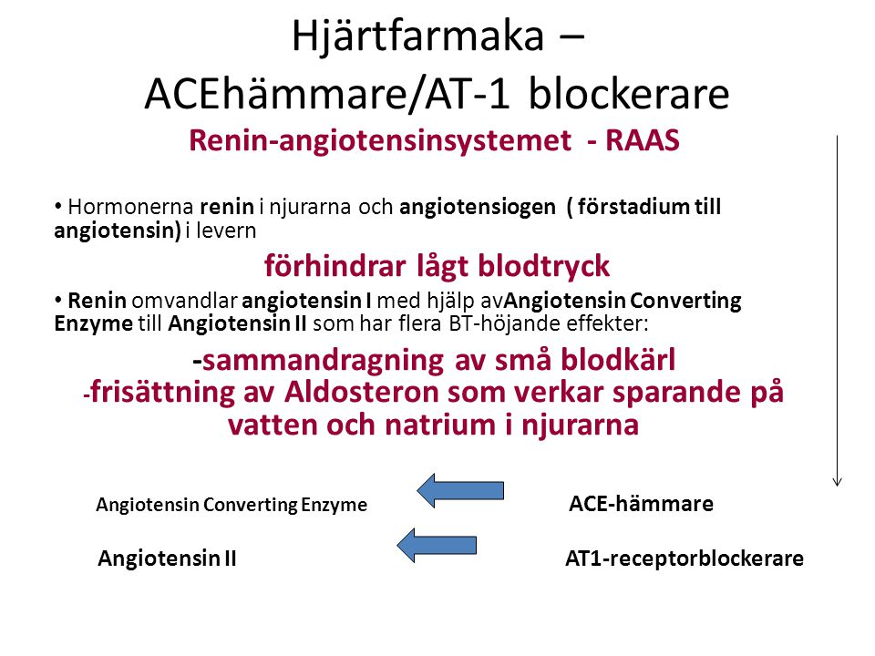 Hjärtfarmaka – ACEhämmare/AT-1 blockerare