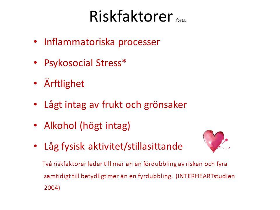 Riskfaktorer forts. Inflammatoriska processer Psykosocial Stress*