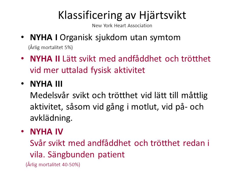 Klassificering av Hjärtsvikt New York Heart Association