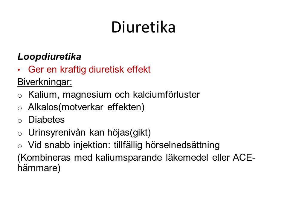Diuretika Loopdiuretika Ger en kraftig diuretisk effekt Biverkningar: