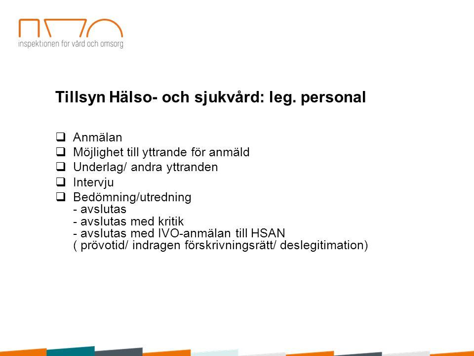 Tillsyn Hälso- och sjukvård: leg. personal