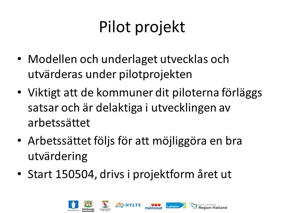 Pilot projekt Modellen och underlaget utvecklas och utvärderas under pilotprojekten.