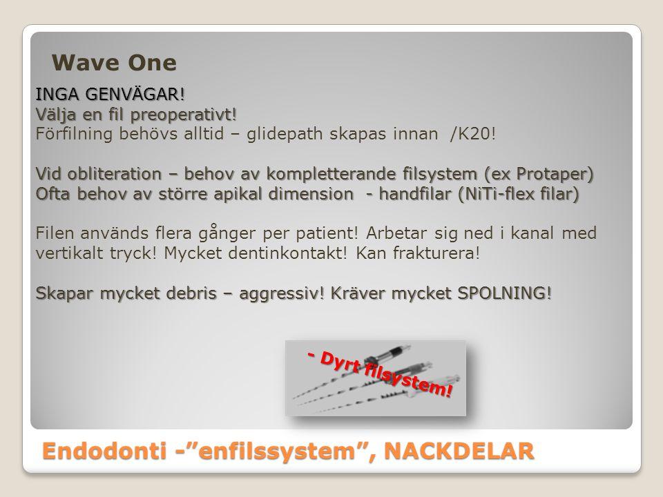 Endodonti - enfilssystem , NACKDELAR