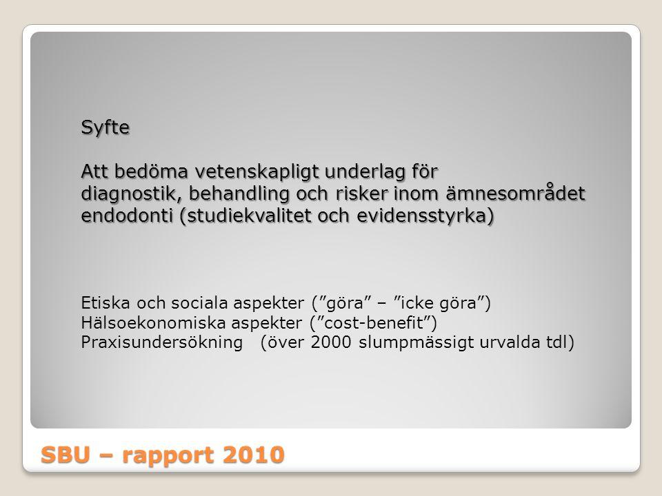 SBU – rapport 2010 Syfte Att bedöma vetenskapligt underlag för