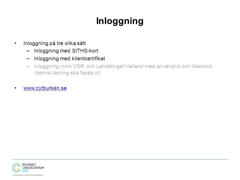 Inloggning Inloggning på tre olika sätt Inloggning med SITHS-kort