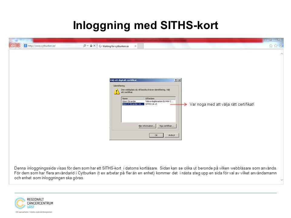 Inloggning med SITHS-kort