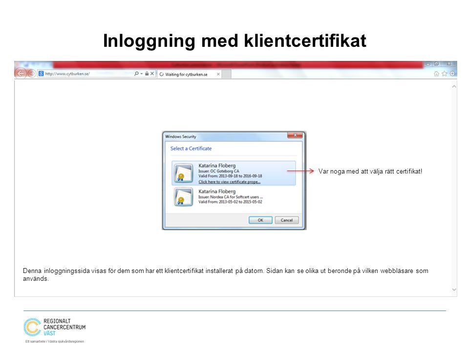 Inloggning med klientcertifikat
