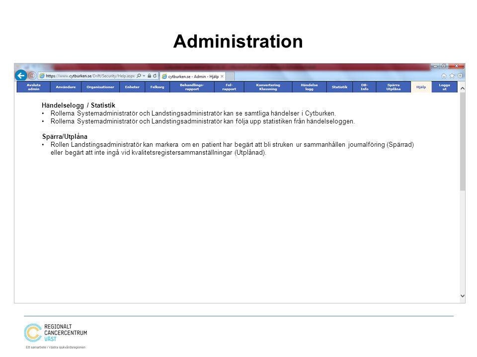 Administration Händelselogg / Statistik