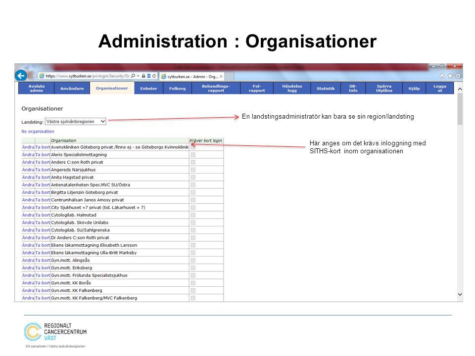 Administration : Organisationer
