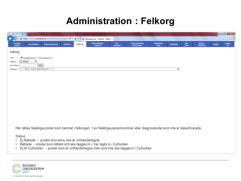 Administration : Felkorg