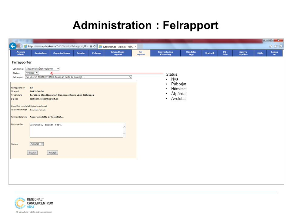Administration : Felrapport