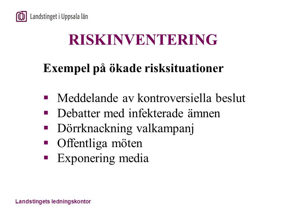 RISKINVENTERING Exempel på ökade risksituationer