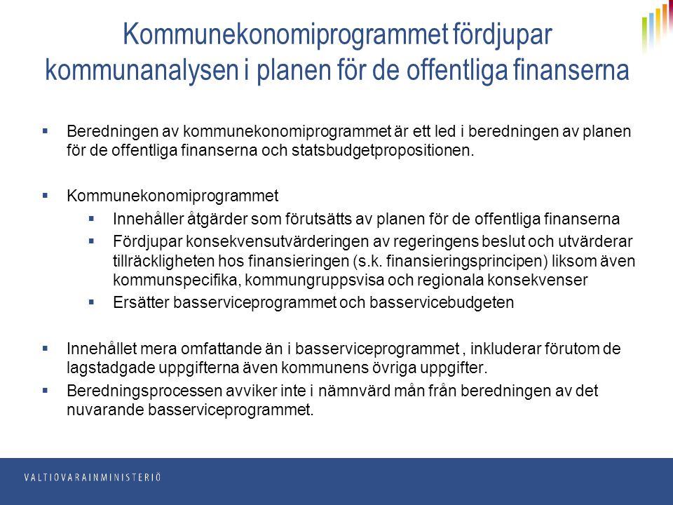 Kommunekonomiprogrammet fördjupar kommunanalysen i planen för de offentliga finanserna