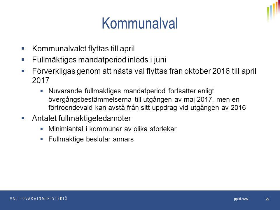 Kommunalval Kommunalvalet flyttas till april