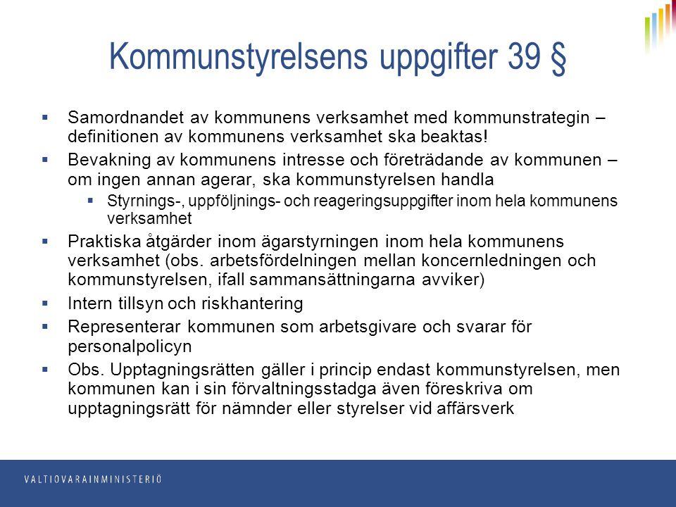 Kommunstyrelsens uppgifter 39 §