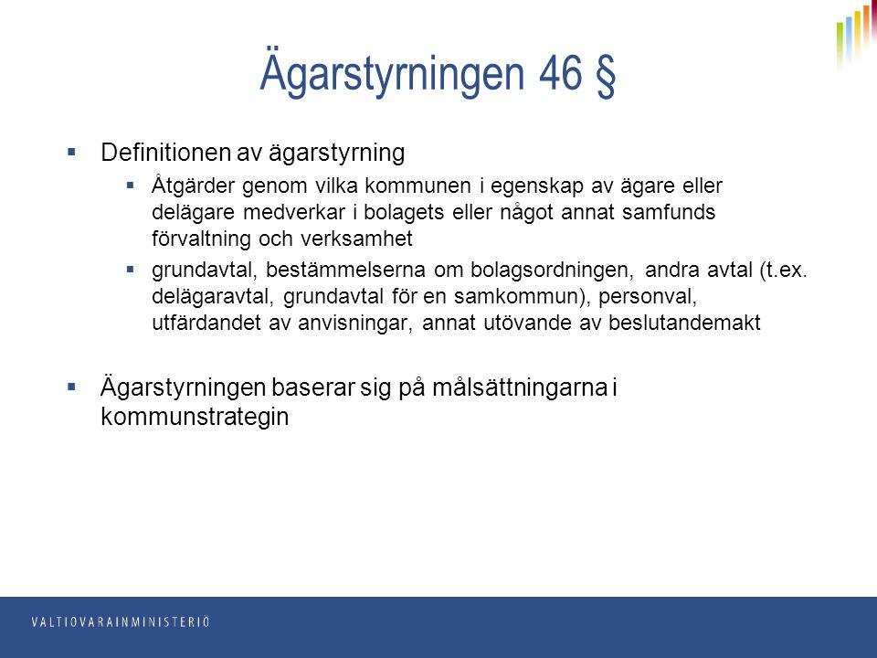 Ägarstyrningen 46 § Definitionen av ägarstyrning