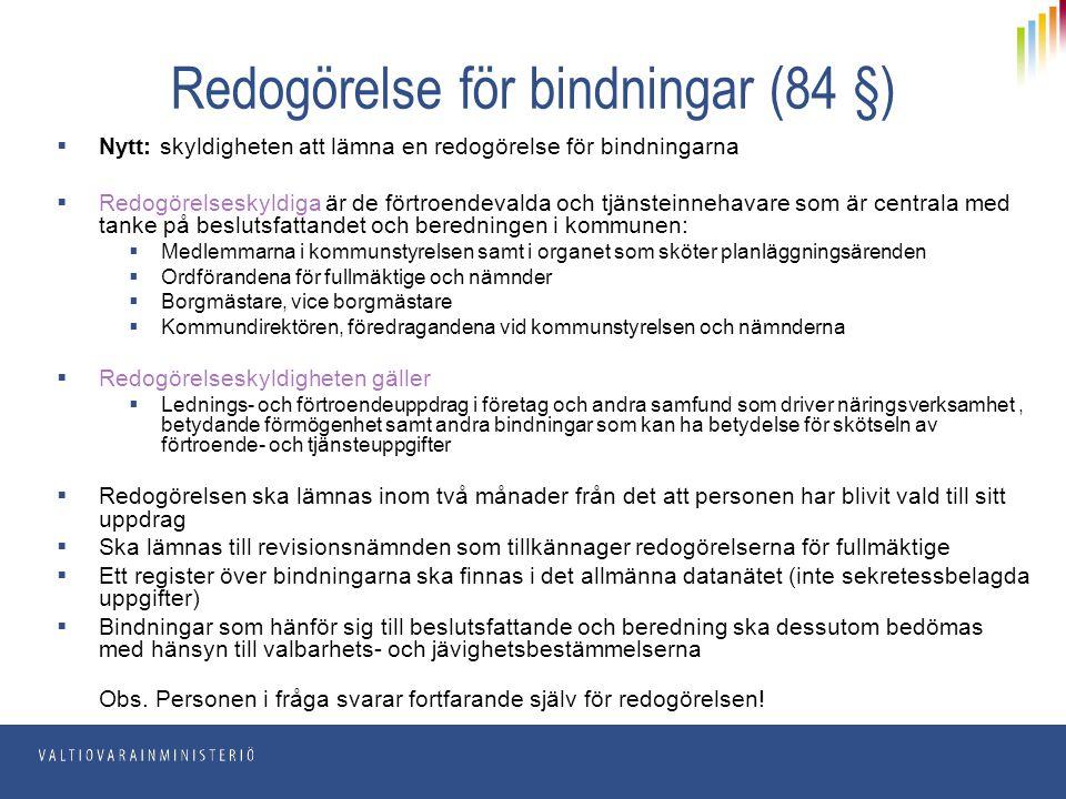 Redogörelse för bindningar (84 §)