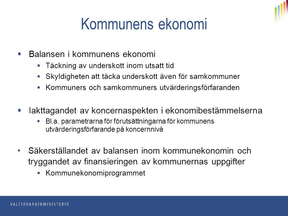 Kommunens ekonomi Balansen i kommunens ekonomi
