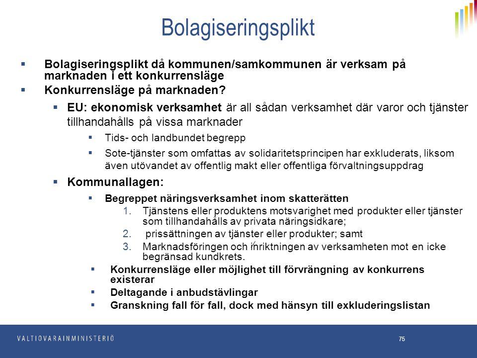Bolagiseringsplikt Bolagiseringsplikt då kommunen/samkommunen är verksam på marknaden i ett konkurrensläge.