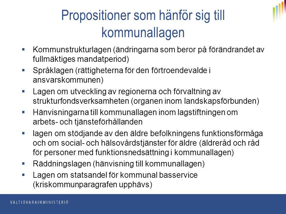 Propositioner som hänför sig till kommunallagen