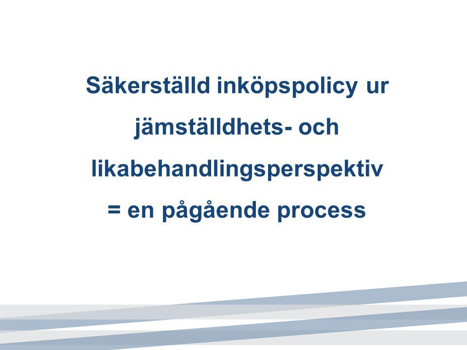 Säkerställd inköpspolicy ur jämställdhets- och likabehandlingsperspektiv = en pågående process
