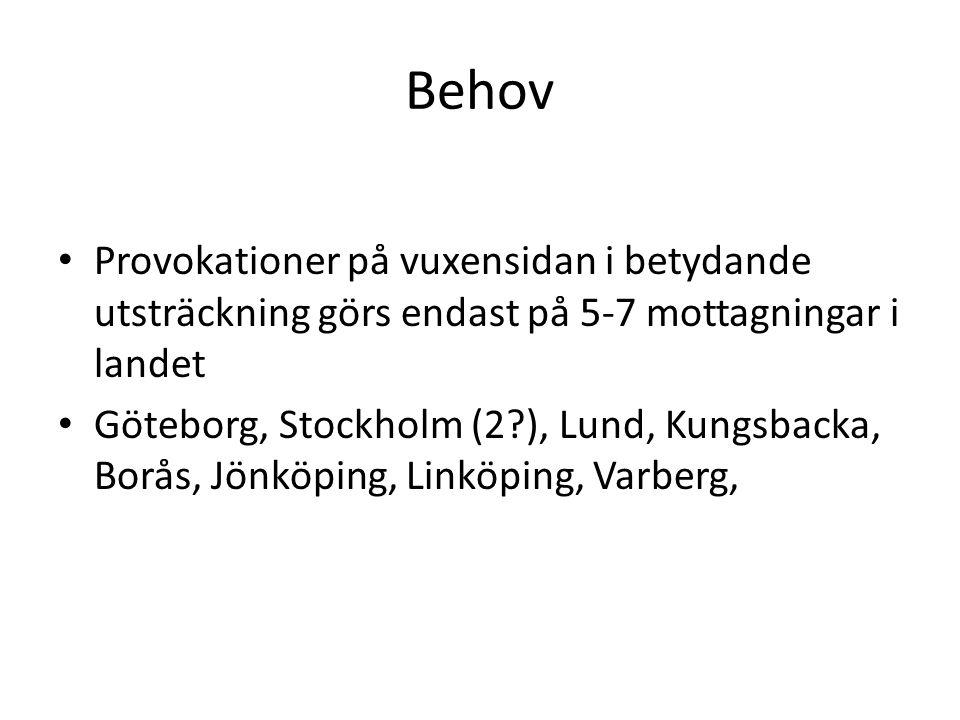 Behov Provokationer på vuxensidan i betydande utsträckning görs endast på 5-7 mottagningar i landet.