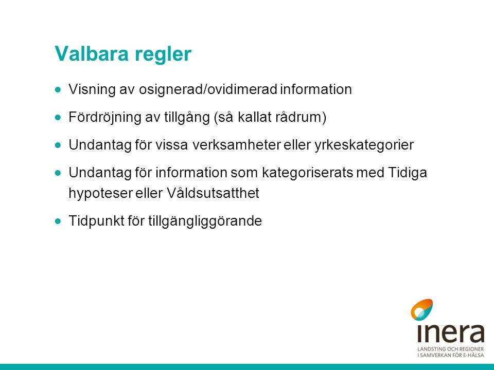 Valbara regler Visning av osignerad/ovidimerad information
