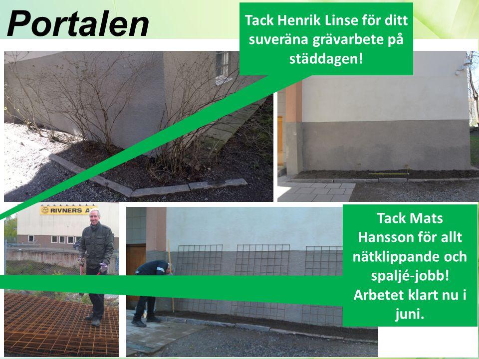 Portalen Tack Henrik Linse för ditt suveräna grävarbete på städdagen!