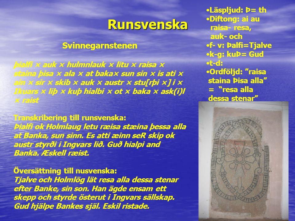 Runsvenska Svinnegarnstenen Läspljud: Þ= th