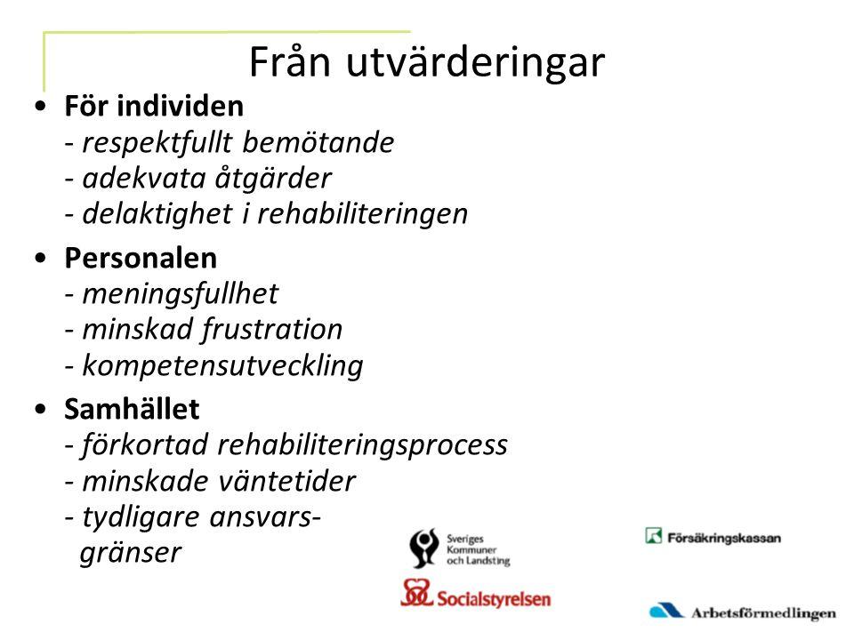 Från utvärderingar För individen - respektfullt bemötande - adekvata åtgärder - delaktighet i rehabiliteringen.