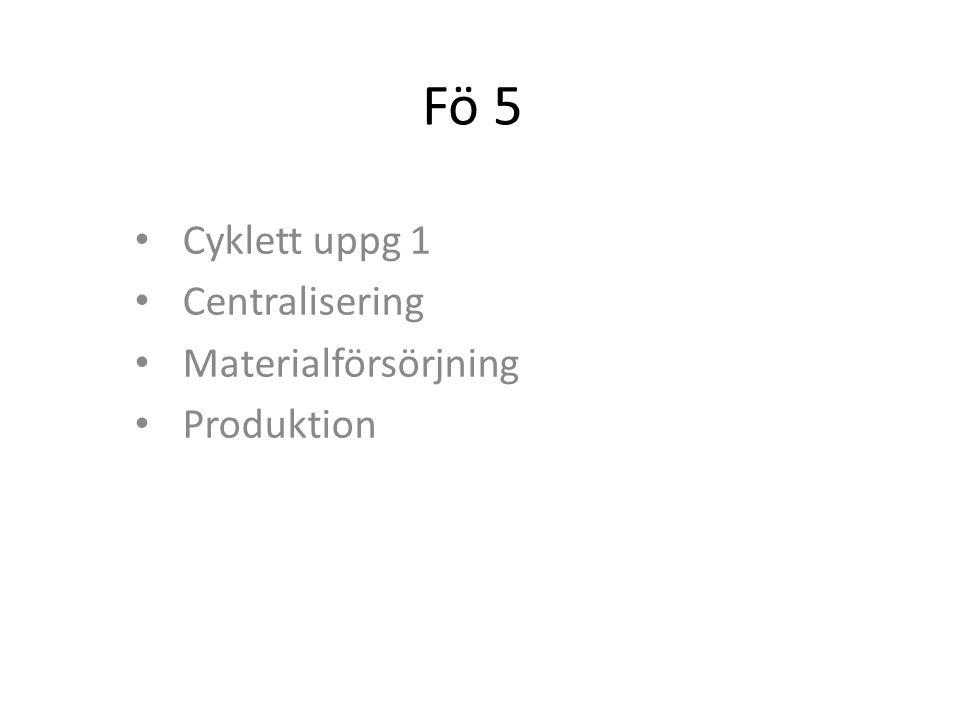 Cyklett uppg 1 Centralisering Materialförsörjning Produktion