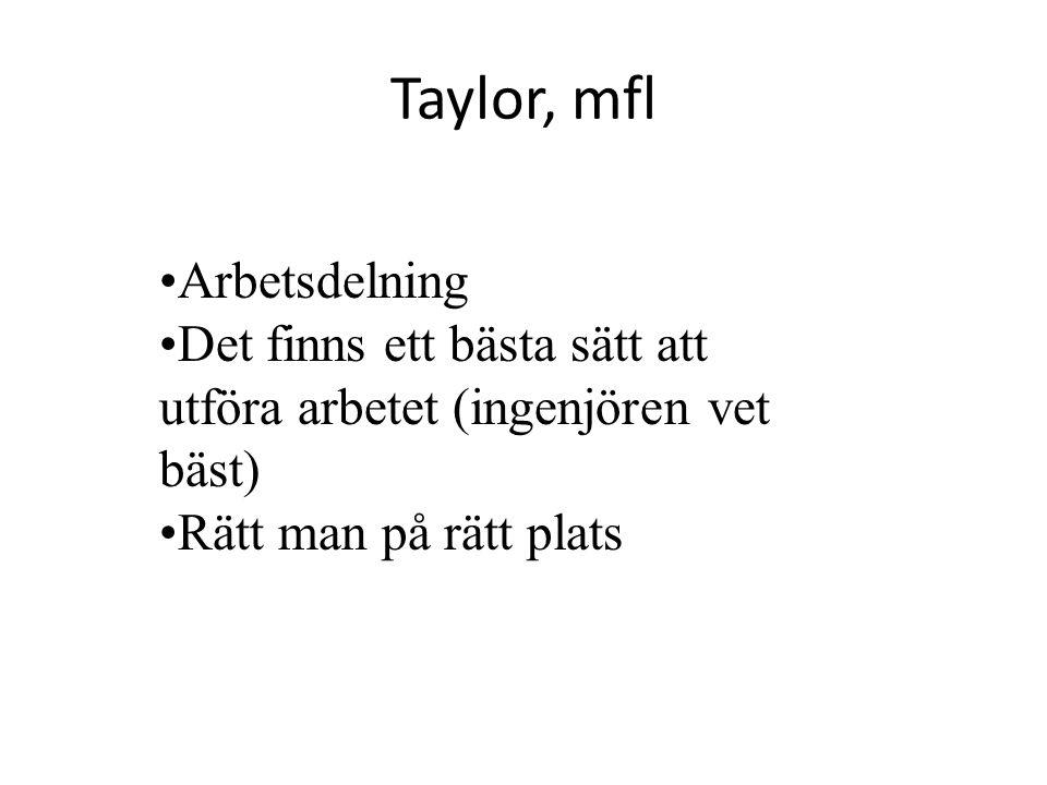 Taylor, mfl Arbetsdelning