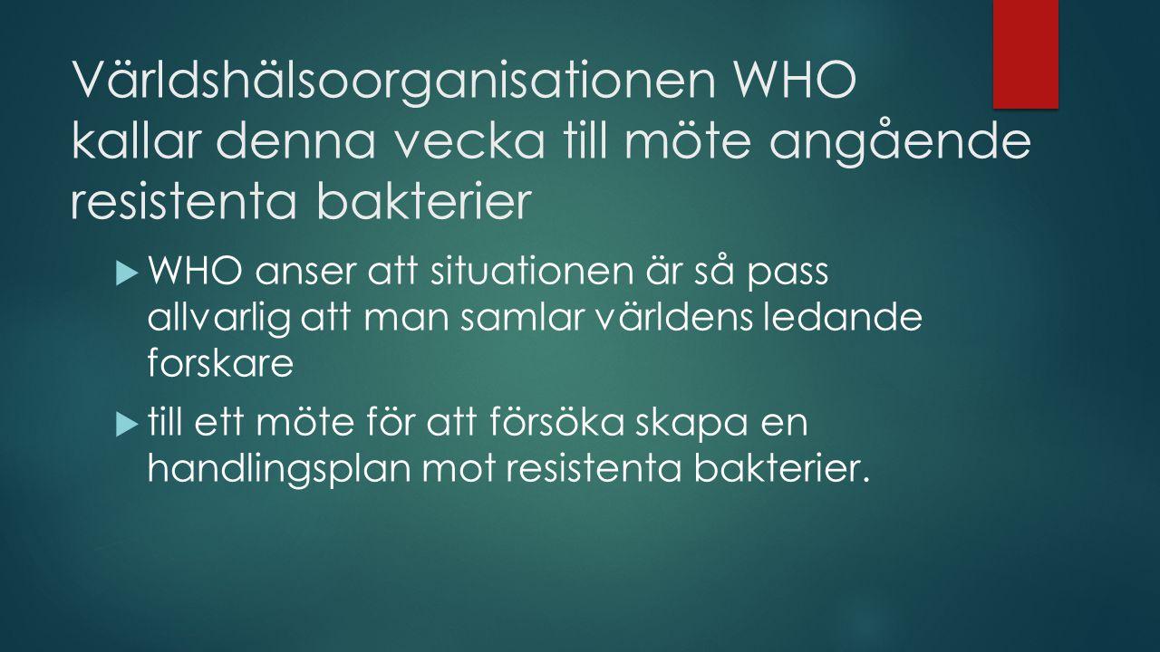 Världshälsoorganisationen WHO kallar denna vecka till möte angående resistenta bakterier