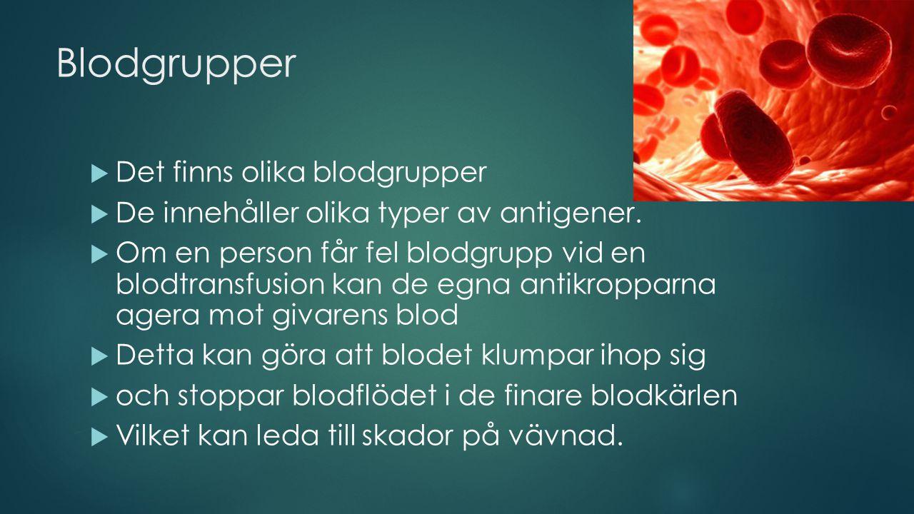 Blodgrupper Det finns olika blodgrupper